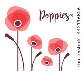 red poppies in a row. vector...   Shutterstock .eps vector #442116856