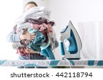housewife bringing a huge pile... | Shutterstock . vector #442118794