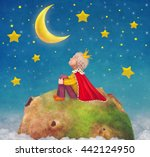 the little prince  on a planet  ... | Shutterstock . vector #442124950