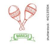 hand drawing maracas. symbol of ... | Shutterstock .eps vector #442135504