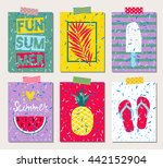 Set Of Six Vector Bright Summe...