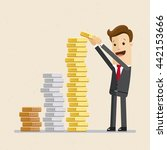 businessman or manager puts... | Shutterstock .eps vector #442153666