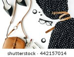 flat lay feminine clothes and... | Shutterstock . vector #442157014