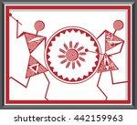 indian tribal paintings. warli... | Shutterstock .eps vector #442159963