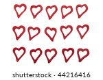 ornamental hearts on white... | Shutterstock . vector #44216416
