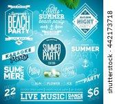 vector summer beach party... | Shutterstock .eps vector #442173718