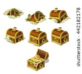 wooden treasure chest with gold ... | Shutterstock .eps vector #442182178