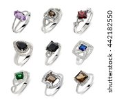 jewelry set of rings with gems... | Shutterstock . vector #442182550