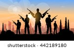 terrorist group over city view... | Shutterstock .eps vector #442189180