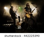 rock band performs on stage.... | Shutterstock . vector #442225390
