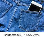 part of cellphone in blue jeans ... | Shutterstock . vector #442229998