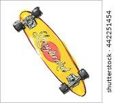 watercolor skateboard. sketch... | Shutterstock .eps vector #442251454