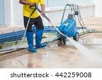 outdoor floor cleaning with... | Shutterstock . vector #442259008