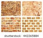 set textures brick. watercolor... | Shutterstock . vector #442265884