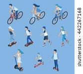 isometric boy  girl and kid... | Shutterstock .eps vector #442267168