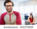 smiling businessman with arms... | Shutterstock . vector #442270309