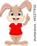 cute rabbit raised index finger | Shutterstock .eps vector #442277920