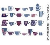 set of tea cups.  | Shutterstock .eps vector #442278460