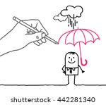 drawing big hand and  character ...   Shutterstock .eps vector #442281340