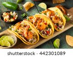 homemade spicy shrimp tacos... | Shutterstock . vector #442301089