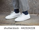 milan   february 19  man poses... | Shutterstock . vector #442324228