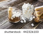 chocolate oatmeal with milk of... | Shutterstock . vector #442326103