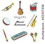 musical instruments set. flat... | Shutterstock .eps vector #442337338