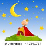 the little prince  on a planet  ...   Shutterstock .eps vector #442341784