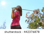 women player golf swing shot on ... | Shutterstock . vector #442376878