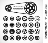 Gears And Bicycle Chain Icons ...