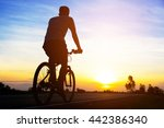 silhouette men cycling on road... | Shutterstock . vector #442386340