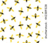 seamless pattern with bees | Shutterstock .eps vector #442389328