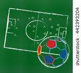 stadium and soccer ball.... | Shutterstock .eps vector #442393204