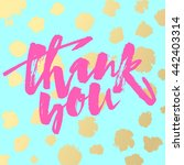 thank you card. hand lettering... | Shutterstock .eps vector #442403314