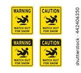 warning caution sign vector set ... | Shutterstock .eps vector #442406350