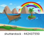 illustration of a boat on... | Shutterstock . vector #442437550