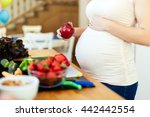pregnant woman healthy eating... | Shutterstock . vector #442442554