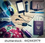 set of travel accessory with... | Shutterstock . vector #442443979