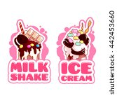 two stickers with giant... | Shutterstock .eps vector #442453660