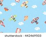japanese kite vector seamless...   Shutterstock .eps vector #442469503