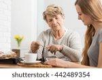 portrait of an elderly lady... | Shutterstock . vector #442489354