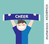 sport team supporter holding... | Shutterstock .eps vector #442489414