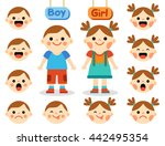 cartoon boy and girl characters ... | Shutterstock .eps vector #442495354