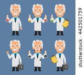 old professor holds board test...   Shutterstock .eps vector #442501759