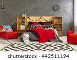 spacious bedroom with grey... | Shutterstock . vector #442511194