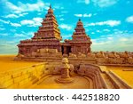 fantastic art design of monolithic famous Shore Temple near Mahabalipuram, world heritage site in Tamil Nadu, India