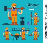 vector worker and overall work... | Shutterstock .eps vector #442518838