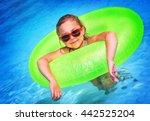 cute little girl swimming in... | Shutterstock . vector #442525204