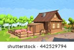 low poly house  3d rendering | Shutterstock . vector #442529794