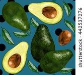 avocado  half of avocado ... | Shutterstock .eps vector #442537276